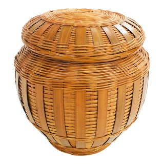 Vintage Wicker Wrapped Ceramic Jar For Sale