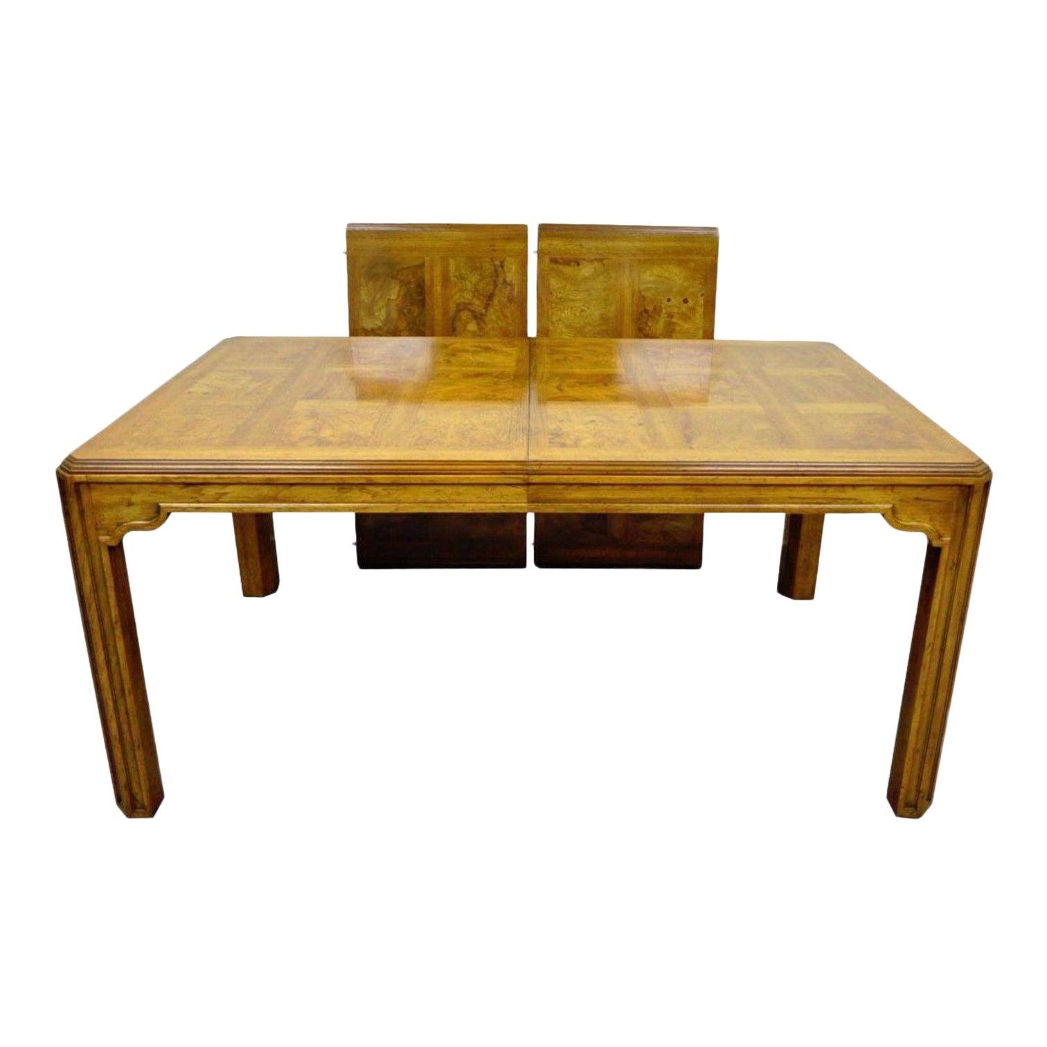 Vintage Drexel Heritage Sketchbook Dining Room Table Banded Burlwood Parquetry Chairish