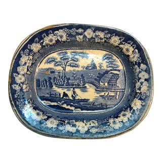 Antique Staffordshire Blue and White Transferware Platter For Sale