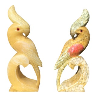 Italian Hand Carved Alabaster Cockatiel- Pair For Sale