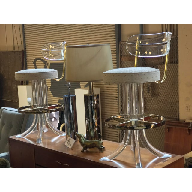 Pair of Charles Hollis Jones Lucite and Brass Bar Stools.
