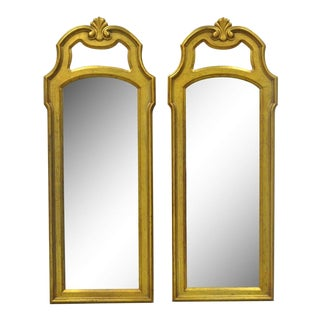 "Pair of 50"" X 19"" Vintage Drexel French Hollywood Regency Gold Wall Mirrors For Sale"
