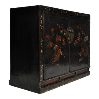 Antique Chinese Painted Black Lacquer Cabinet
