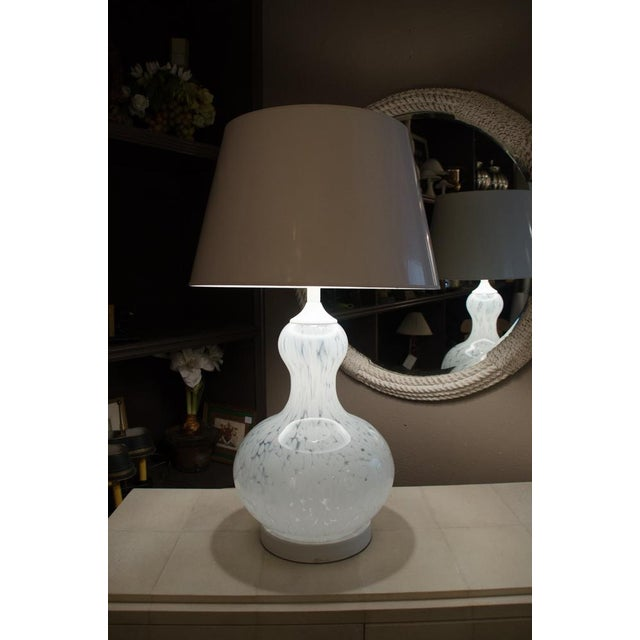 Attractive Murano Glass Table Lamp with Custom Shade For Sale In New York - Image 6 of 7