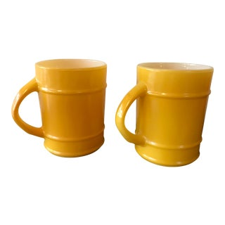 1950s Boho Chic Yellow Milk Glass Barrel Mugs - a Pair