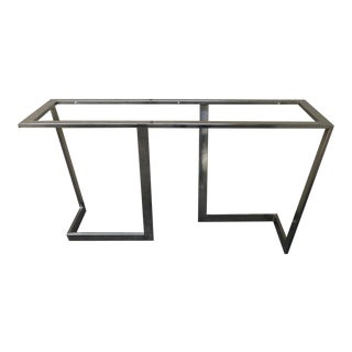 1970s Vintage Architectural Chromed Steel Console For Sale