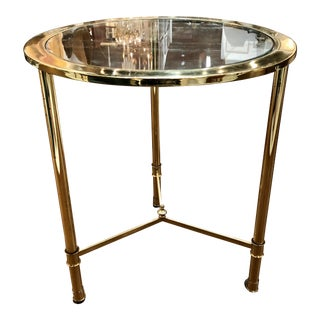 Vintage Brass Side Table With Glass Top For Sale