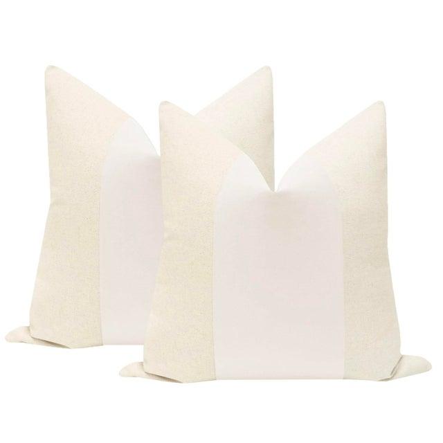 "22"" Alabaster Velvet Panel & Linen Pillows - a Pair For Sale - Image 6 of 6"