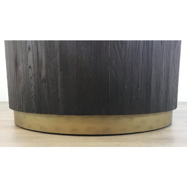 Modern Industrial Modern Round Wood Cocktail Table For Sale - Image 3 of 6