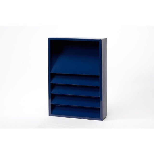 1960s 1960s Retro Steel File Holder/ Magazine Rack/ Mail Organizer, Refinished in Midnight Blue For Sale - Image 5 of 6
