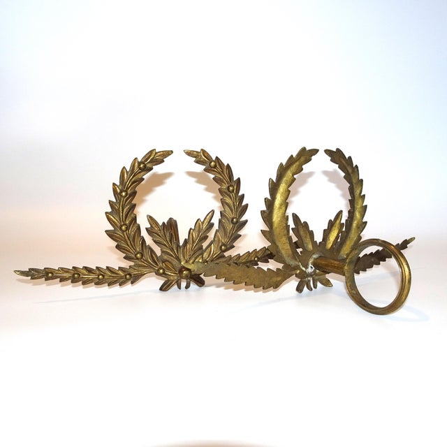 A Pair of Antique French Brass Drapery Rod Holders With Garland Design For Sale In Nashville - Image 6 of 7