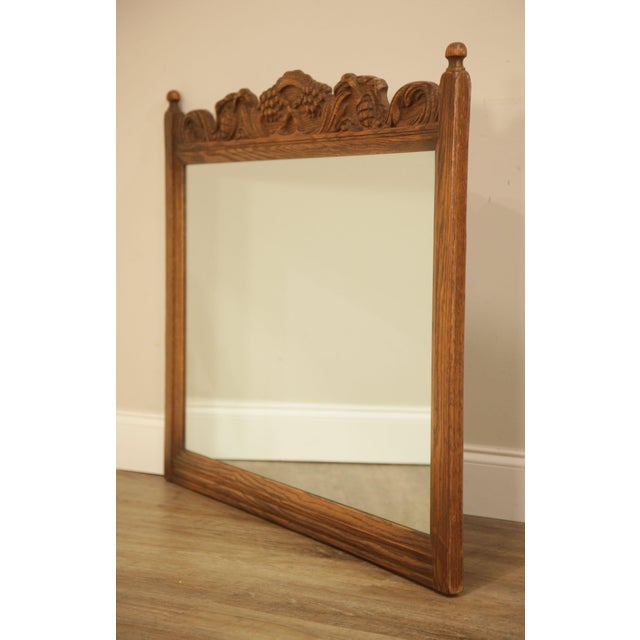 Jacobean Feudal Oak Jamestown Lounge Carved Frame Mirror For Sale - Image 3 of 12