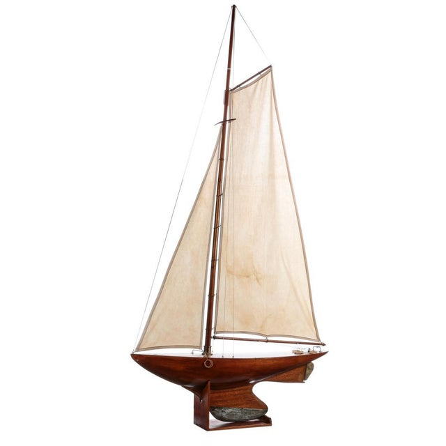 Early 20th Century Antique Nautical Fully Rigged Pond Yacht Sailboat For Sale - Image 5 of 5
