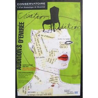 2005 Quebec Contemporary Auditions Poster, Conservatoire d'Art Dramatique De Montréal For Sale