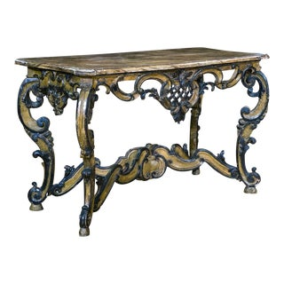 19th Century Italian Painted Demi Lune With Faux Marble Top For Sale
