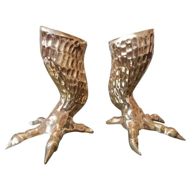 Brass Eagle Talon Candlesticks 1960s Italy - a Pair For Sale - Image 11 of 11