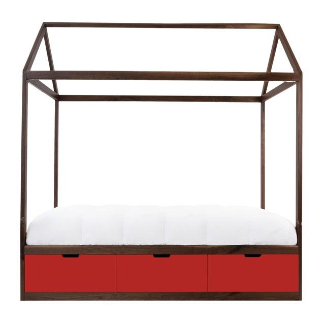 Domo Zen Full Canopy Bed in Walnut With Red Finish Drawers For Sale
