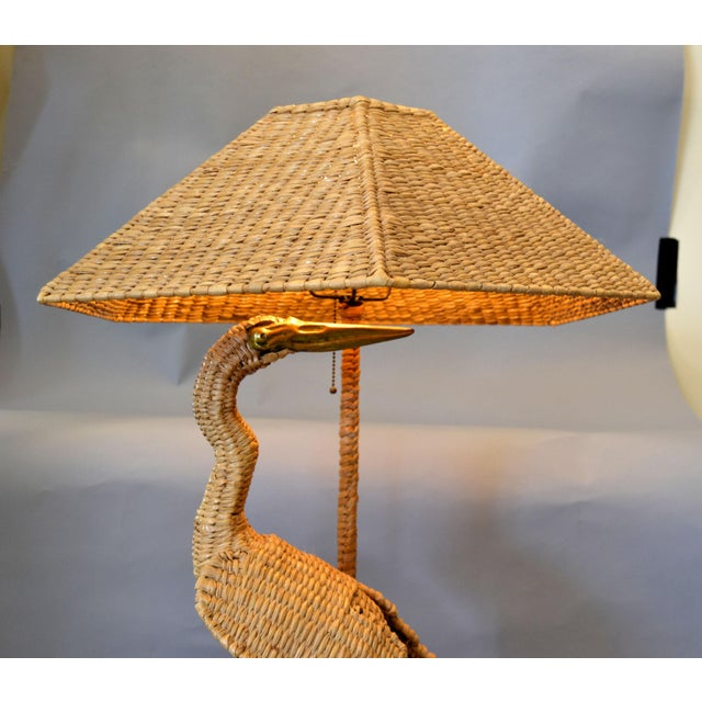 Vintage Mario Lopez Torres Egret Wicker Rattan Table Lamp, 1974 For Sale - Image 9 of 13