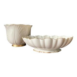 Vintage Lenox China Ivory and Gold Cachepot & Sculptured Oval Pedestal Bowl - Set of 2 For Sale