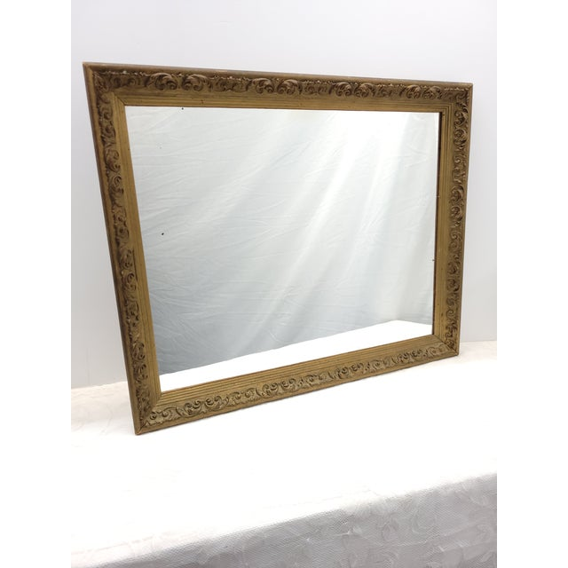 Wood Vintage 1960s Gesso Gold Wood Square Wall Mirror For Sale - Image 7 of 10