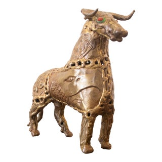 1970s Brutalist Brass Bull by Pal Kepenyes For Sale
