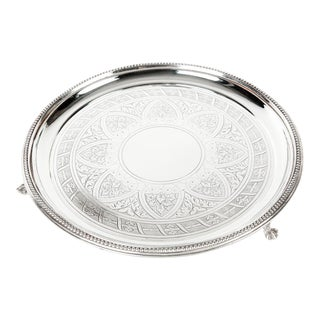 Vintage English Circular Footed Tray For Sale