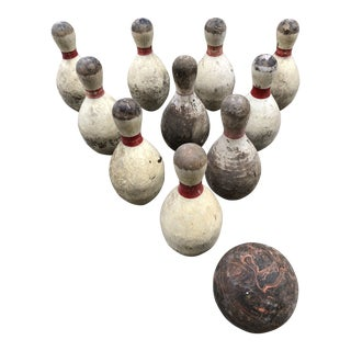 Vintage Wood Bowing Ball & Bowling Pins - Set of 11 For Sale