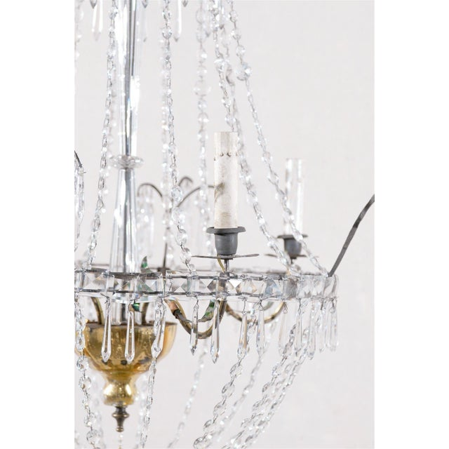 Italian Crystal Four-Light Chandelier With Crystal Center Column For Sale In Atlanta - Image 6 of 11