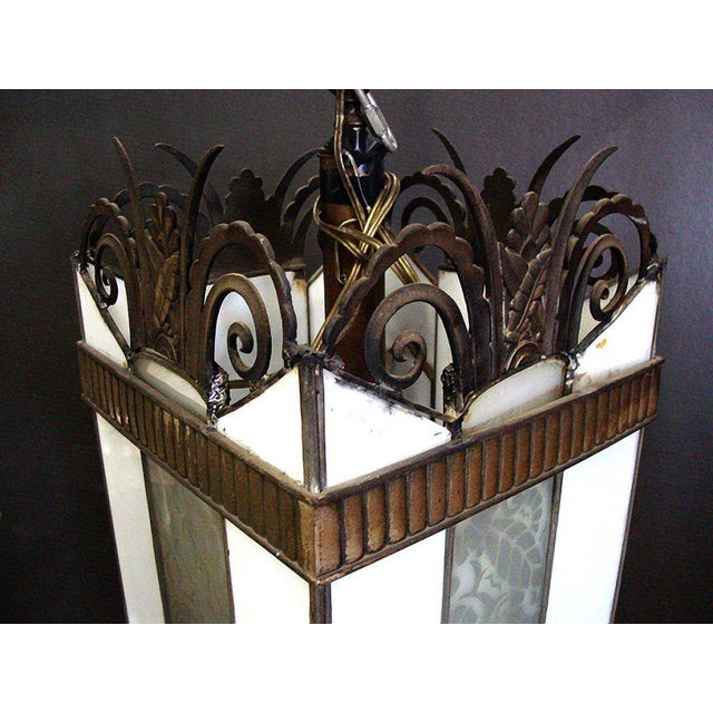 Large Art Deco Geometric Leaded Glass Chandelier with Scrolling Top - Image 3 of 4