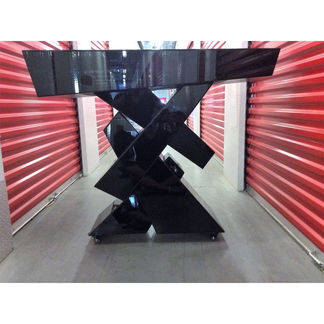 Modern Black Beveled Mirror Console Table - Image 4 of 11