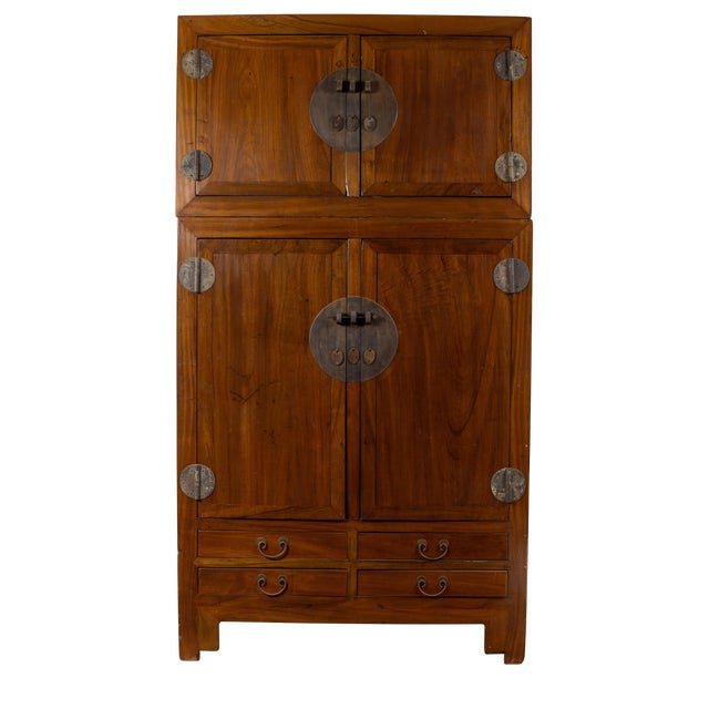 Vintage Chinese Elm Compound Wedding Wardrobe in Two Parts With Metal Hinges For Sale