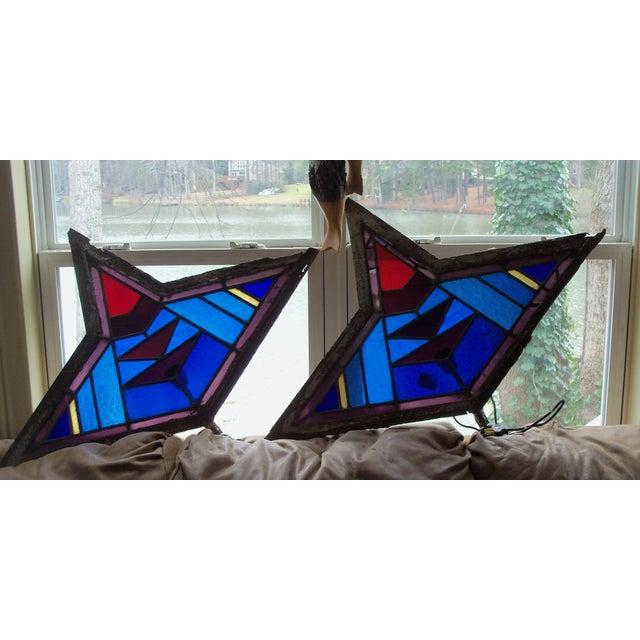 Antique Leaded Art Glass Window Sconces - A Pair - Image 7 of 10