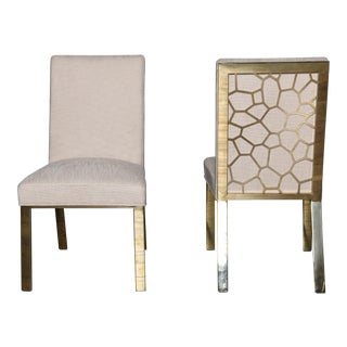 Caracole Gold Bullion Dining Chairs- a Pair For Sale
