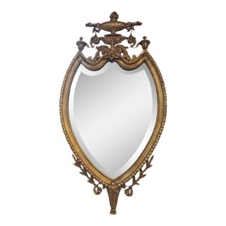 Freidman Brothers Gold Leaf Shield Shape Mirror For Sale