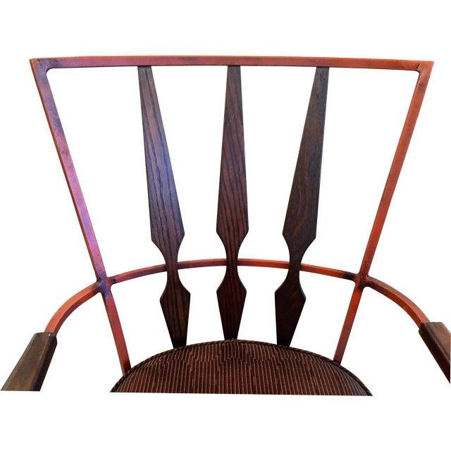 S/4 Mid Century Modern Enameled Steel & Walnut Armchairs Salterini Style - Image 2 of 4