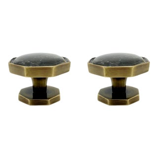 Addison Weeks Harrison Small Knob, Antique Brass & Labradorite - a Pair For Sale
