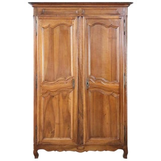 18th Century French Louis XV Walnut Carved Wardrobe or Armoire For Sale