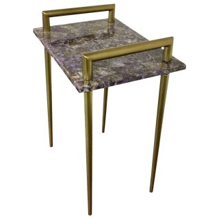 Amethyst Stone Accent Side Table for Living Room, Gold Metal Handles, Bar Table, Contemporary- Brass Finish For Sale