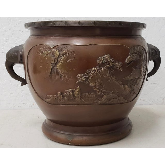 Early 20th Century Chinese Raised Relief Bronze Planter For Sale - Image 9 of 9