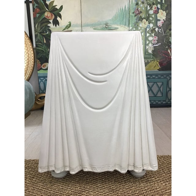 White 1980s Hollywood Regency Lacquered Parchment Trompe L'Oeil Drapery Console For Sale - Image 8 of 12