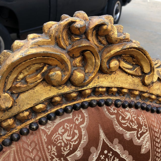 1930s 1930s Vintage Imperial Gilded French Sofa and Chairs - Set of 3 For Sale - Image 5 of 11