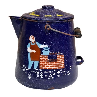 Blue & White Speckled Metal Outdoor Coffee Pot