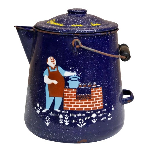 Blue & White Speckled Metal Outdoor Coffee Pot - Image 1 of 5