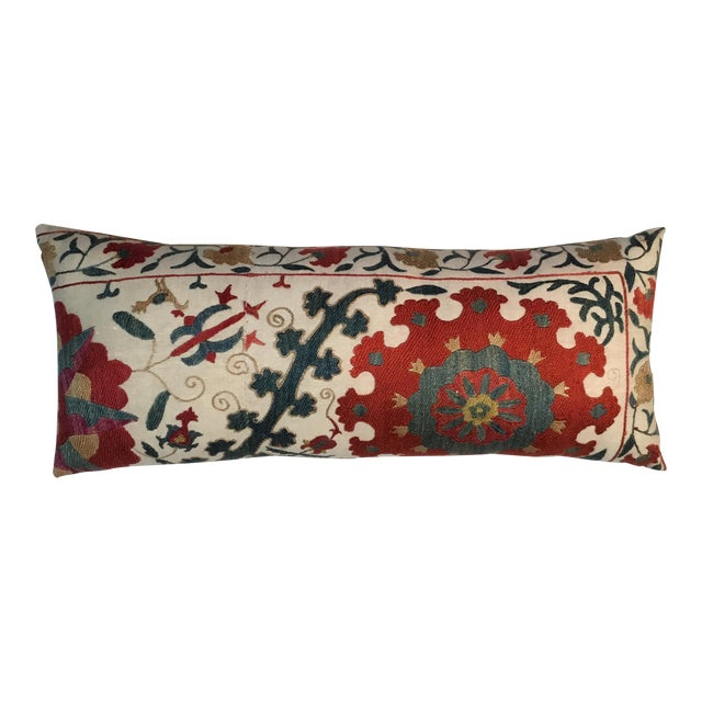 1960s Mediterranean Hand Embroidery Suzani Pillow For Sale