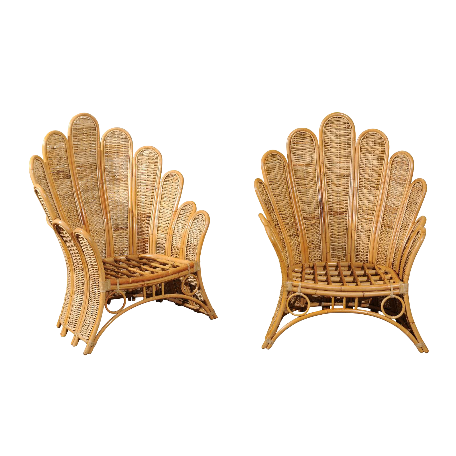 Majestic Restored Pair Of Vintage Rattan And Wicker Palm Frond Club Chairs    Image 1 Of