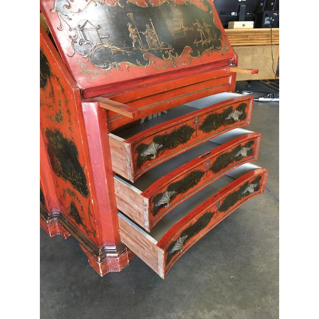 Hollywood Regency Secretary Desk Secretaire Bookcase W/ Chinese Motif For Sale - Image 10 of 11