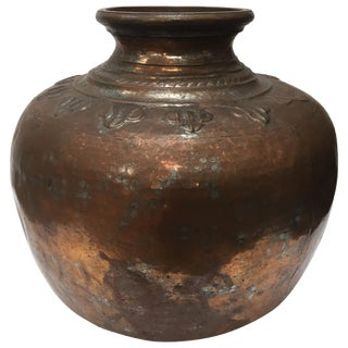 Large Middle Eastern Turkish Handcrafted Tinned Copper Water Jar For Sale