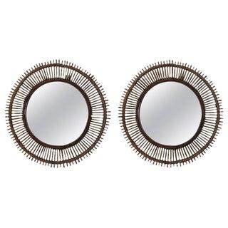 1970s Vintage Convex Rattan Mirrors- a Pair For Sale