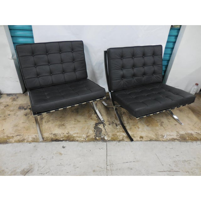 "Pair of Black Modern Barcelona tufted chairs inspired by Knoll. In excellent condition. Seat Height: 18""."