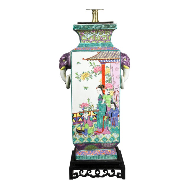 Japanese Porcelain Table Lamp For Sale